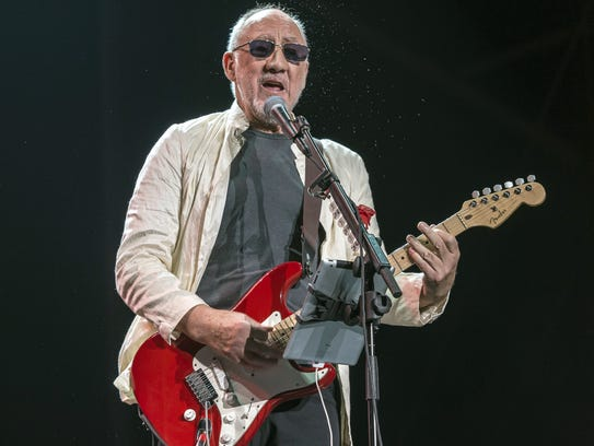 The Who's guitarist Pete Townshend performs during
