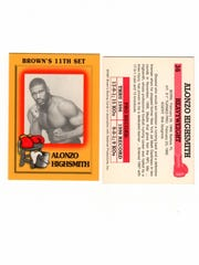 Both sides of a baseball-style trading card made during Alonzo Highsmith's boxing career.