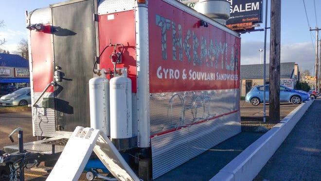 The popular Greek and Mediterranean food cart, Thermopylae Gyro & Souvlaki Sandwiches.