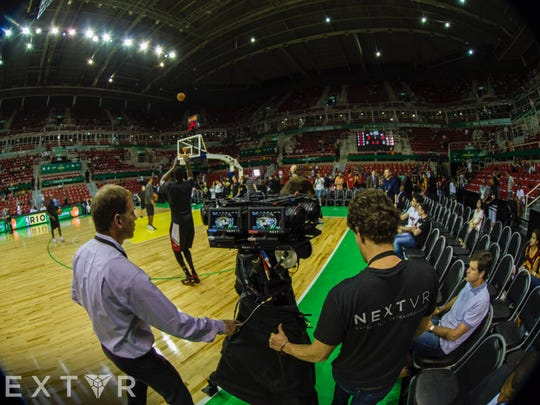 NextVR crewmembers set up their virtual reality cameras