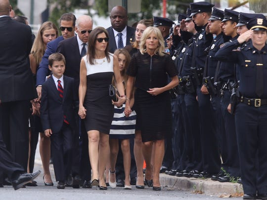 The Biden family arrives for Beau Biden's funeral.