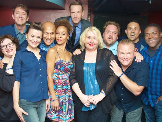 A group photo of The 313 taken in August (Keegan-Michael Key is third from left on main row).