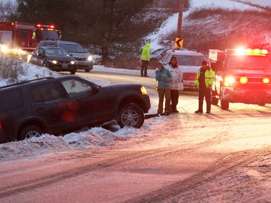 Richmond Police and Fire and Rescue crews were on hand after an SUV slid off an embankment in the S-turns just east of the Fire Station in Richmond on Tuesday evening. Snow, sleet and freezing rain made roads hazardous. There were no injuries reported.
