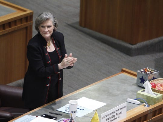 State Sen. Mary Kay Papen, D-Las Cruces, on the floor of the New Mexico Senate in 2016.
