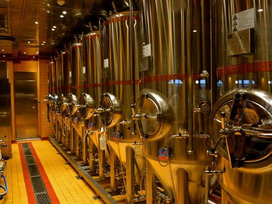 Brewing tanks on board the Carnival Vista.
