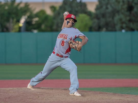 Centennial's Junior Pena pitches against Piedra Vista on Thursday at Santa Ana Star Field in Albuquerque.