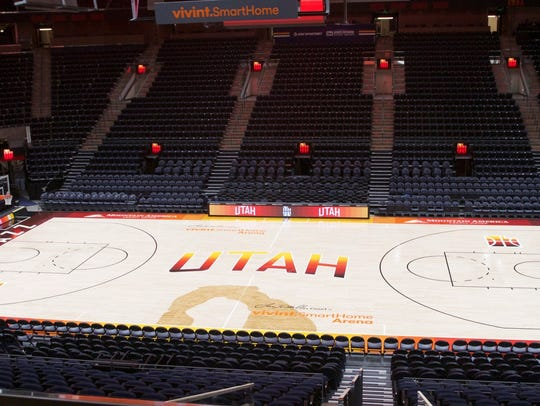 Southern Utah-inspired Utah Jazz court.
