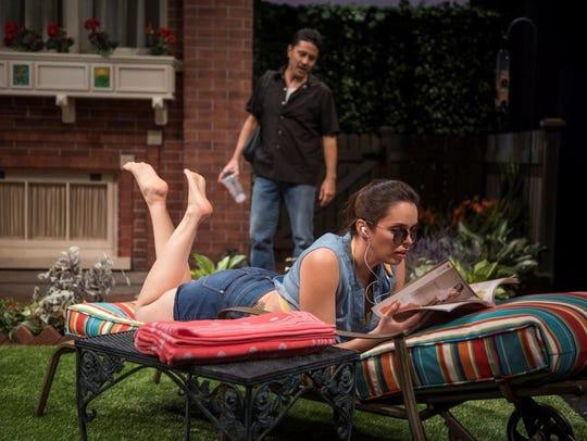 Justin Huen and Zoë Sophia Garcia play immigrants helping