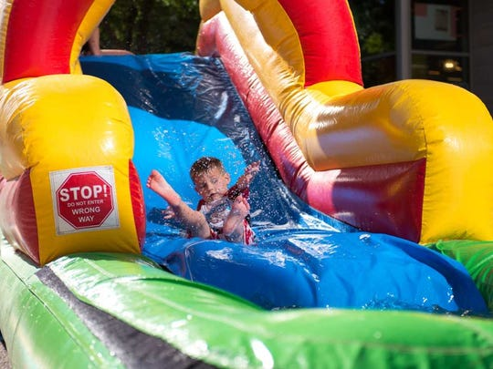 H20asis at CityScape Phoenix is turned into a giant waterpark the second Saturday of every month through Aug. 11.