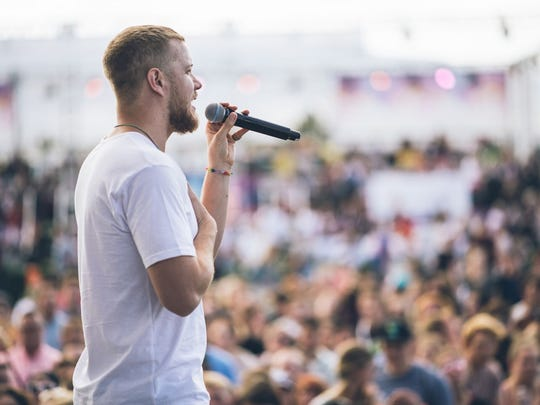 Dan Reynolds addresses the crowd at the 2017 LoveLoud