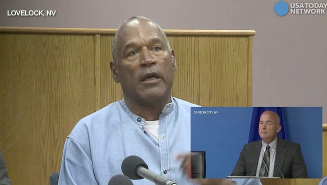 O.J. Simpson speaks during his parole hearing at Lovelock Correctional Center on July 20, 2017.