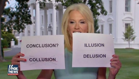 Kellyanne Conway uses flashcards during an appearance