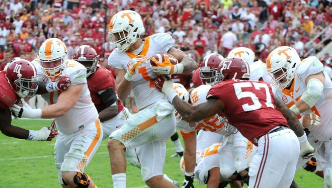 Tennessee running back Jalen Hurd (1) carries during first half action against Alabama at Bryant-Denny Stadium in Tuscaloosa, Ala. Saturday, Oct. 24, 2015.