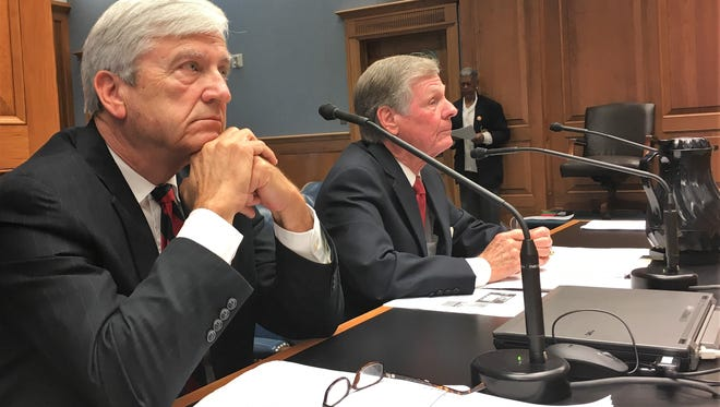 Sen. Gerald Long, left, R-Winnfield, and Sen. Francis Thompson, D-Delhi, withstand almost three hours of mostly pushback testimony in the House Education Committee during debate on Senate Bill 1 Wednesday, Thompson's effort to rename the Louisiana School for Math, Science and the Arts for former Rep. Jimmy D. Long, long-time state lawmaker and Sen. Gerald Long's elder brother.