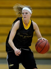 St. Norbert College guard Jill Kleiman during practice inside the Schuldes Sports Center in De Pere.
