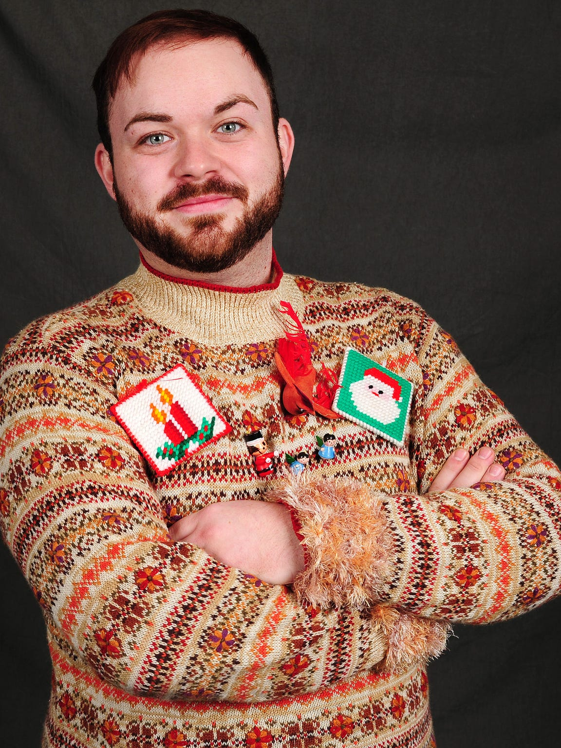 Tyler Atherton made his ugly holiday sweater with items