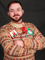 Tyler Atherton made his ugly holiday sweater with items he picked up at a thrift shop.