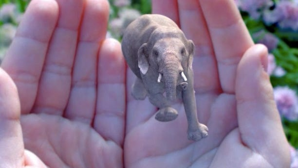 This elephant emerges from the palm in a demonstration from the Magic Leap website.