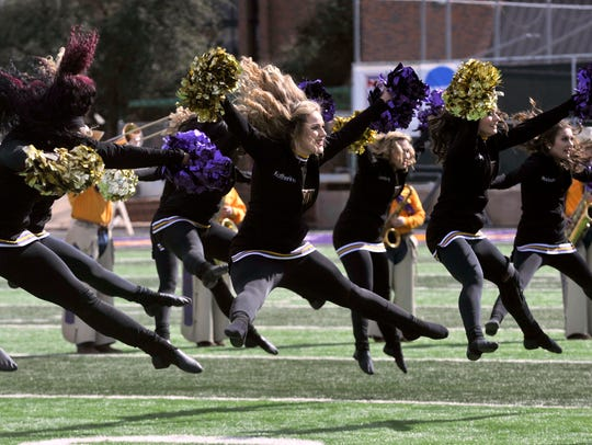 The Hardin-Simmons University Spurs dance team performs during halftime Saturday at Shelton Stadium. The unit celebrated its 20th anniversary at this year's homecoming.
