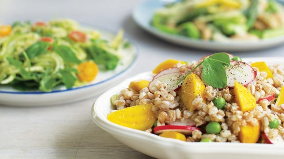 "Farro, Baby Beet, and Pea Shoot Salad from ""Whole Protein Vegetarian"" by Rebecca Miller Ffrench/Joshua Holz/Courtesy photo"