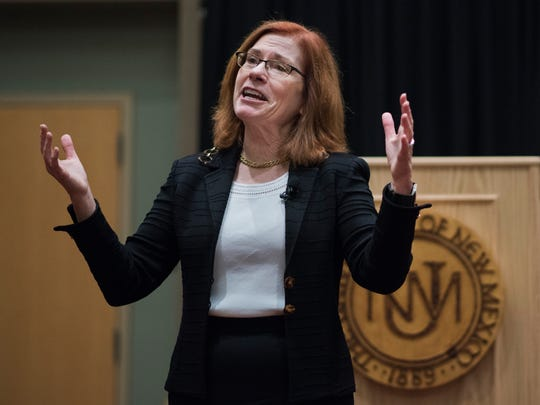 In this Oct. 23, 2017, file photo, Garnett Stokes, the provost and executive vice chancellor for academic affairs at the University of Missouri, speaks at the University of New Mexico in Albuquerque, N.M. Stokes, the first female president in the history of the University of New Mexico, is scheduled Monday, March 5, 2018, to be introduced to campus after being named president in November.