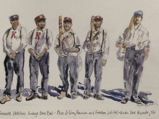 """Blue and Gray reunion and Freedom Jubilee,"" artwork by Jillie Eves of the Knoxville Holstons baseball team"