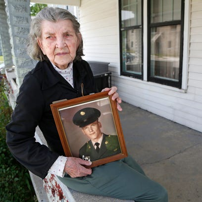 Service medals awarded posthumously to David Howard are displayed Thursday, May 26, 2016, at her north side Lafayette home of his mother, Marietta Noe. Howard was killed in action on September 14, 1967, when the armored personnel carrier he was riding in struck a mine.