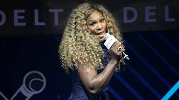 Tennis player Serena Williams performs onstage at the Delta Open Mic with Serena Williams event on Wednesday in New York.