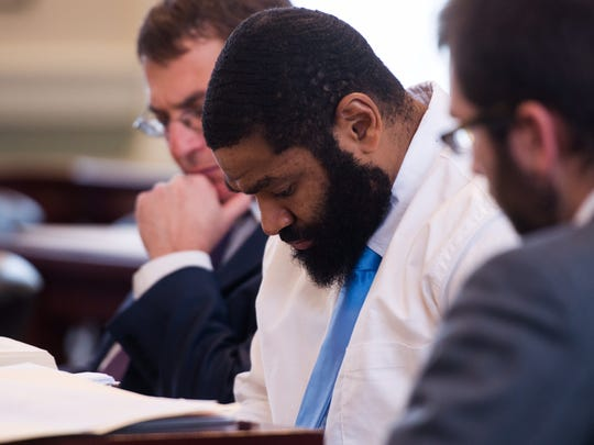 Robert Rosario appears in Vermont Superior Court in Hyde Park on Tuesday, Dec. 12, 2017, for the first day of his trial. Rosario is accused of raping a woman in a bathroom of the Edward J. Costello courthouse in Burlington.
