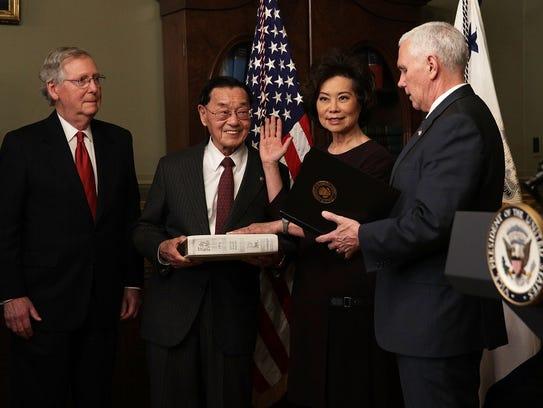 Elaine Chao is sworn in as Transportation secretary