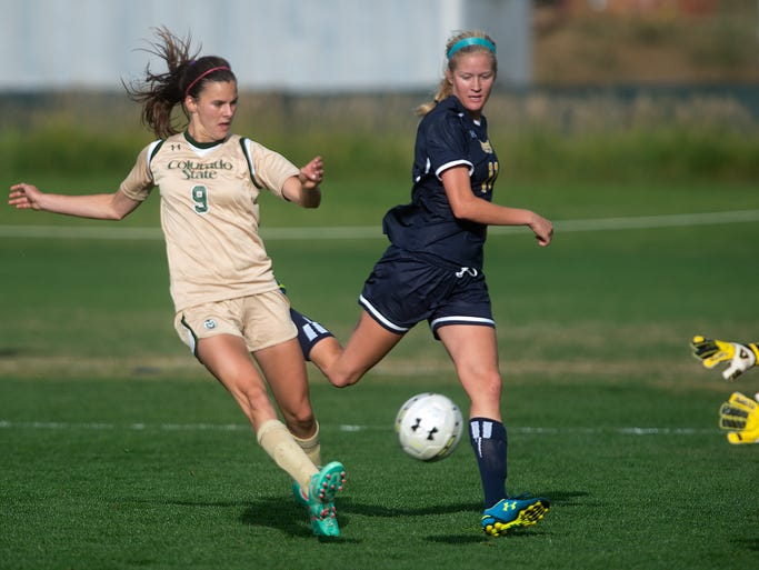 The CSU women celebrate a goal during a game against the University of Northern Colorado at Colorado State University in Fort Collins Thursday, August 28, 2014. CSU won 1-0.
