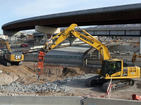 Crews demolish the old span to Paisano Drive over the former Interstate 10 East on-ramp along Sunland Park Drive. The work is part of the Go 10 project, which started in April 2015 and will continue into 2019 at a cost of $158 million, said Noemi Rojas, mobility coordinator for the Go 10 project. The project involves the construction of about 6 miles of roadway from Exit 11 at North Mesa Street east to Exit 16 at Executive Center Boulevard. When completed, I-10 will have increased capacity and enhanced safety for motorists, Rojas said.
