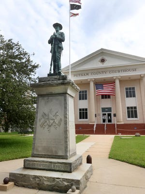 The statue of a confederate civil war soldier on the Putnam County Courthouse lawn, Thursday July 2, 2020 erected in 1924 by Patton Anderson Chapter of United Daughter of the Confederacy.