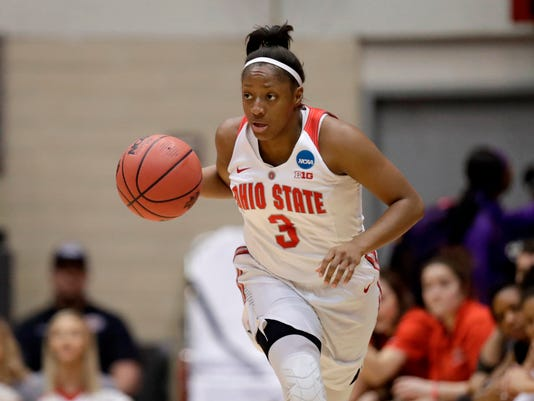 FILE - In this March 17, 2018, file photo, Ohio State's Kelsey Mitchell drives against George Washington in the first half during a first-round game in the NCAA women's college basketball tournament, in Columbus, Ohio. Mitchell is expected to be a a first round pick in the WNBA Draft. (AP Photo/Tony Dejak, File)