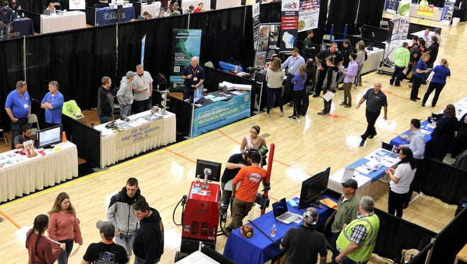 An overhead view of some of the 68 booths of employers at the Skills USA Future Fair on March 1 at Oconto Falls High School.