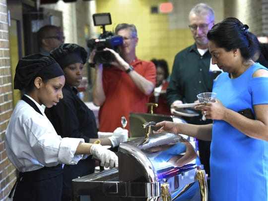 Culinary Arts students Raquel Whitler, left, 18, and