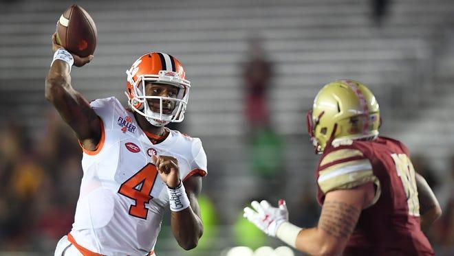 Clemson quarterback Deshaun Watson (4) throws a pass during a game against Boston College last season.
