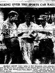 Bunny Boye talks with Miami Sports Car Club members: Press-Journal May 20, 1954