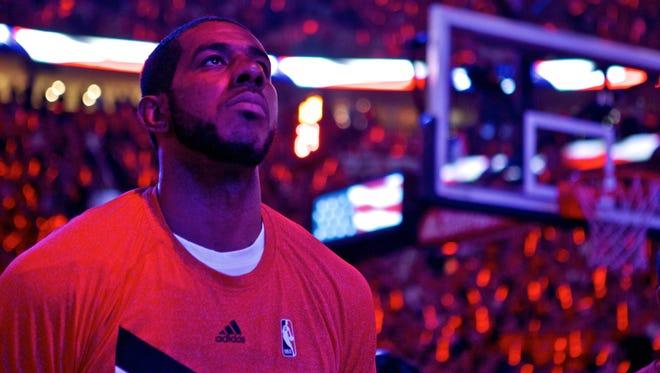 Portland Trail Blazers forward LaMarcus Aldridge (12) before Game 4 against the Memphis Grizzlies in the first round of the NBA Playoffs at the Moda Center on April 27, 2015.