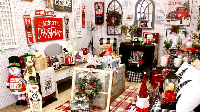 A large assortment of Christmas items and decorations are featured in the front part of the store, one of the first booths people see when they walk in the door.