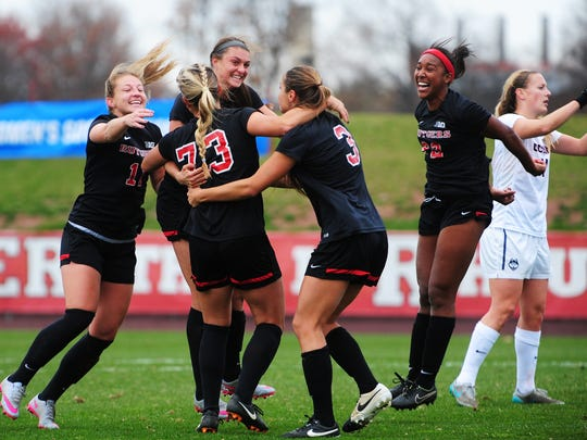 The Rutgers women's soccer team had plenty to celebrate Sunday, with four goals in a Sweet 16 victory.