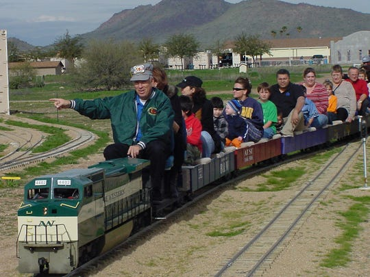 All aboard! Catch a ride on the Maricopa Live Steamers miniature train for a free ride on Sundays at Adobe Mountain Railroad Park, 43rd Avenue at Pinnacle Peak Road..