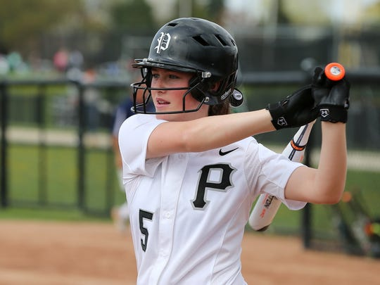Plymouth freshman shortstop Whitney Holden chipped