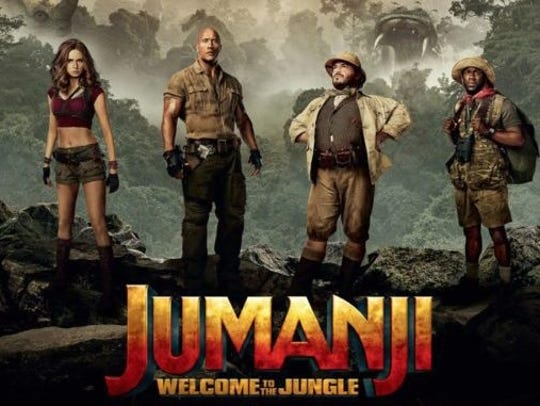 A promotional poster for 'Jumanji: Welcome to the Jungle'