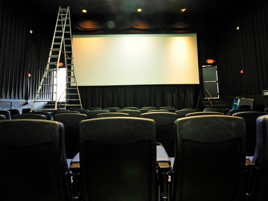 The screen is up and ready to show movies Wednesday,