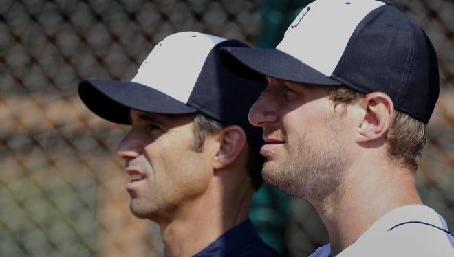 Brad Ausmus, left, faces no shortage of setbacks in his rookie year as Tigers manager. One of them: The potential departure of Max Scherzer after 2014.