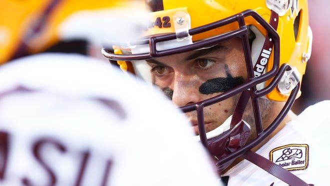 Arizona State quarterback Mike Bercovici against Arizona on Friday, Nov. 28, 2014, in Tucson.