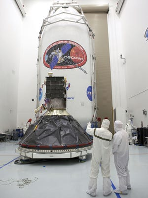 Preparations to launch the National Oceanic and Atmospheric Administration's Deep Space Climate Observatory spacecraft, or DSCOVR, are near completion at the Astrotech payload processing facility in Titusville, Fla.