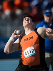 Solon's Tyler Linderbaum competes in the Boy's shot put during the 2018 Drake Relays on Friday, April 27, 2018, at Drake University.
