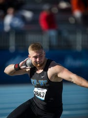 KPWC's Nick Phelps competes in the boys' high school shot put event during the 2018 Drake Relays on Friday, April 27, 2018, at Drake University. Phelps won the competition with a throw of 65-3.50.